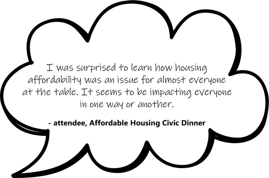 I was surprised to learn how housing affordability was an issue for almost everyone at the table. It seems to be impacting everyone in one way or another.