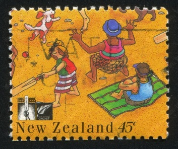 New Zealand stamp showing people playing cricket