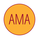 """red and yellow icon of a circle with """"AMA"""" in the center"""