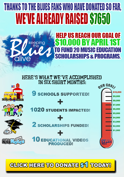 Keeping the Blues Alive $1 pledge. Thanks to the Blues fans who have donated so far, we've already raised $7650! Help Joe Bonamassa's 501(c)3 raise $10,000 to fund 20 music education programs and scholarships by April 1st. Donate now!