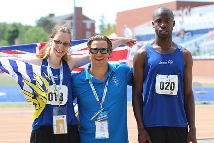 Special Olympics BC athletes April and Daniel with coach Chris