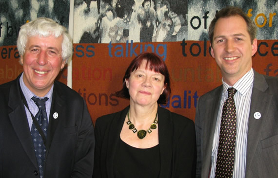 Photograph: Joan Walley MP, Chair of the Environmental Audit Select Committee, with Mark Lloyd and Martin Salter. A high resolution version of this image is available from the link below.