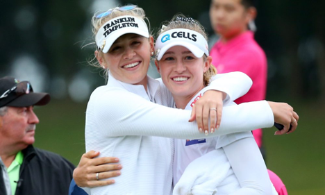 The Korda sisters smiling on course