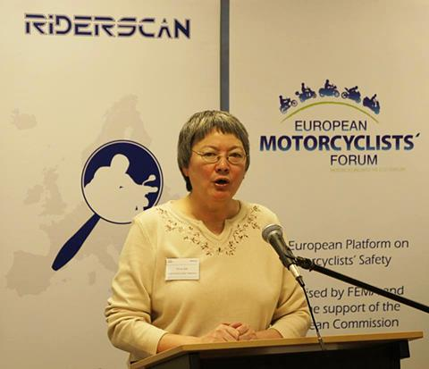 Anna Zee, FEMA president, opening the European Motorcyclists Forum 2015